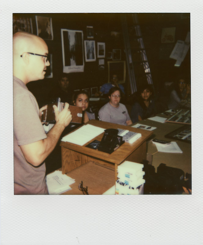 Teaching Brookhaven students about various Polaroid cameras